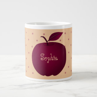 Purple Apple Romantic Polka Dots Pale Personalized Large Coffee Mug
