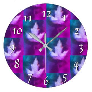 Purple Aqua Green Blue Colors Handmade Artisan Large Clock