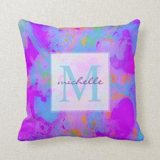 Purple Aqua Hearts Abstract Monogram Cushion