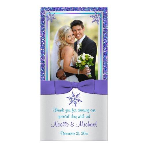 Purple Aqua Silver Snow Flakes Wedding Photo Card