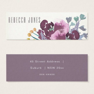 PURPLE AQUA WATERCOLOUR FLORAL MONOGRAM Address Mini Business Card