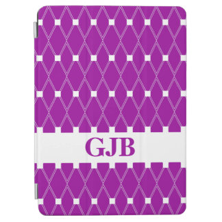 Purple Argyle Lattice with monogram iPad Air Cover