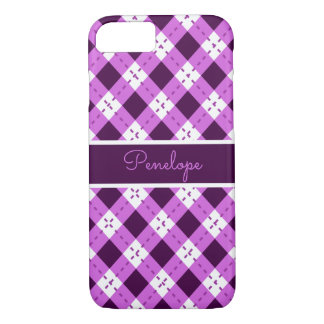 Purple Argyle Monogram iPhone 8/7 Case