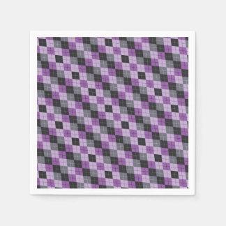 Purple Argyle Paper Serviettes