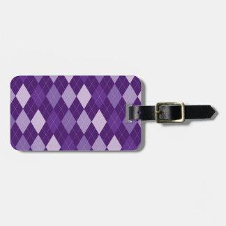 Purple argyle pattern bag tag