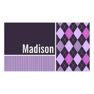Purple Argyle Pattern Business Card Templates