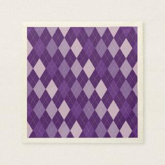 Purple argyle pattern disposable serviette