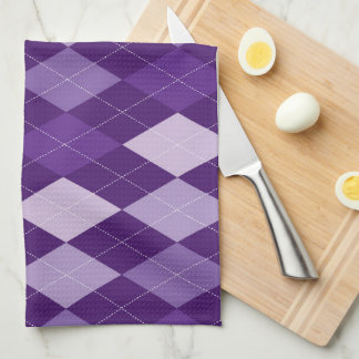 Purple argyle pattern hand towel