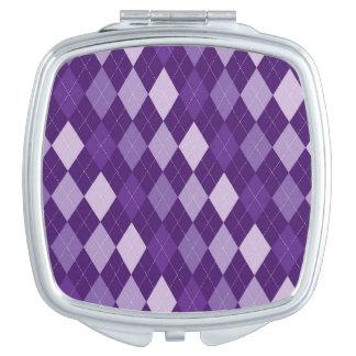Purple argyle pattern makeup mirror