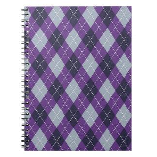 Purple argyle pattern notebook