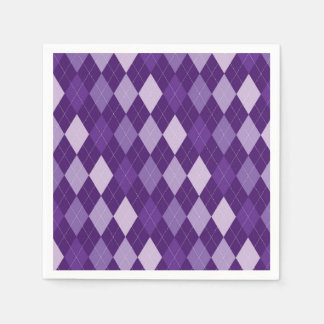 Purple argyle pattern paper napkin