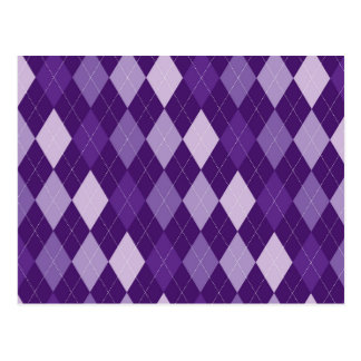 Purple argyle pattern postcard