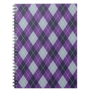 Purple argyle pattern spiral notebook