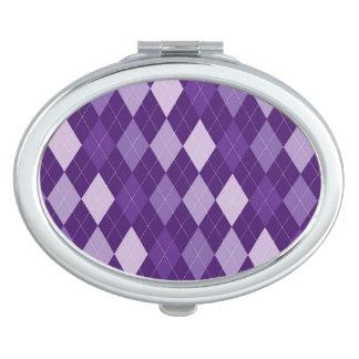 Purple argyle pattern travel mirror