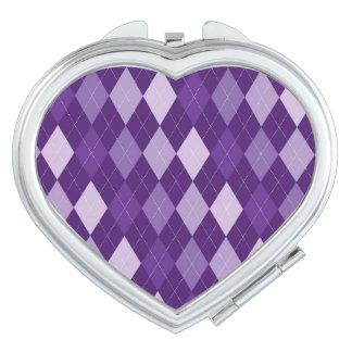 Purple argyle pattern vanity mirror