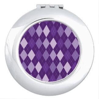 Purple argyle pattern vanity mirrors