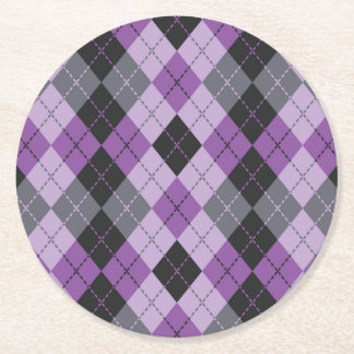 Purple Argyle Round Paper Coaster