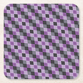 Purple Argyle Square Paper Coaster