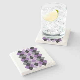 Purple Argyle Stone Coaster