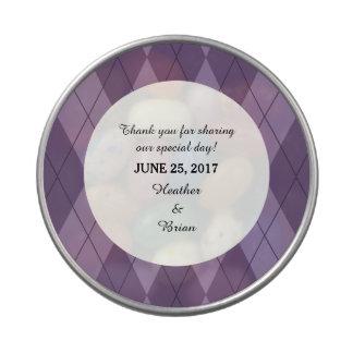 Purple Argyle Wedding Candy Tin
