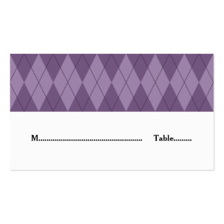 Purple Argyle Wedding Place Card Pack Of Standard Business Cards
