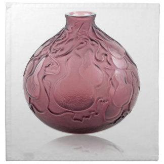 Purple Art Deco glass vase depicting pears. Napkin