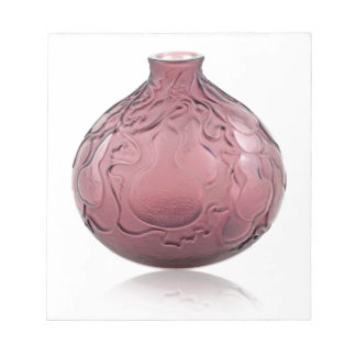 Purple Art Deco glass vase depicting pears. Notepad