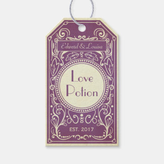 Purple art deco love potion apothecary label