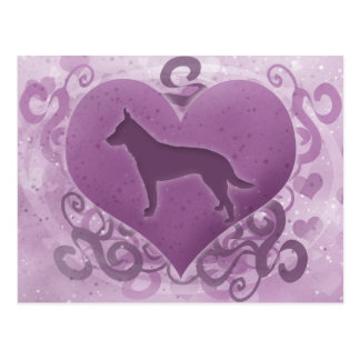 Purple Australian Cattle Dog Valentine Postcard