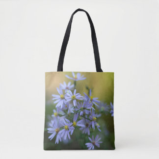 Purple Autumn Asters Floral Wildflower Tote Bag