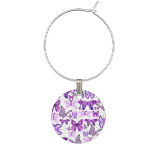 Purple Awareness Butterflies Wine Charm
