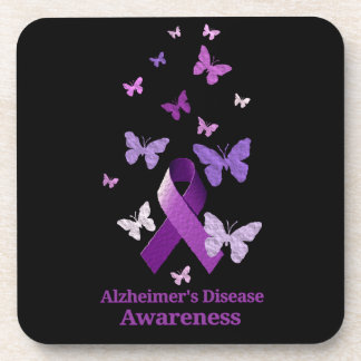 Purple Awareness Ribbon: Alzheimer's Disease Drink Coaster