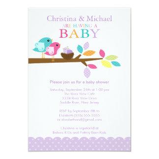Purple Baby Bird Nest Baby Shower Invitations