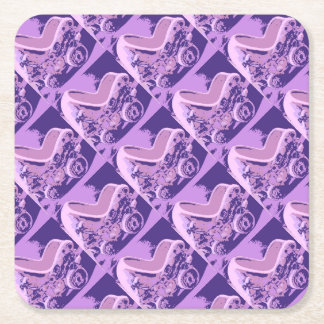 Purple Baby Buggy Square Paper Coaster
