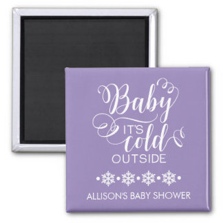 Purple Baby It's Cold Outside Shower Favor Magnet