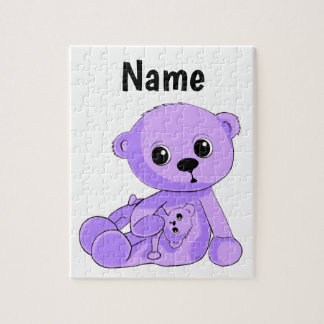 Purple Baby Teddy Bear Puzzle Personalize