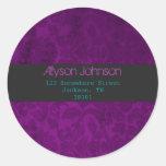 Purple Background Address Labels Classic Round Sticker