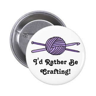 Purple Ball of Yarn (Knit & Crochet) 6 Cm Round Badge