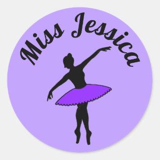 Purple Ballerina Ballet Dance Teacher Pointe Tutu Classic Round Sticker