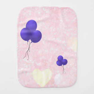 Purple balloons and yellow hearts design burp cloth