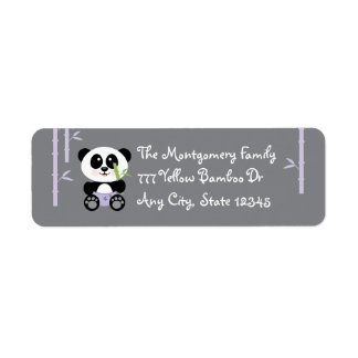 Purple Bamboo Baby Panda in Diapers Return Return Address Label