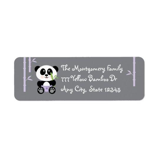 Purple Bamboo Baby Panda in Diapers Return Return Address Label