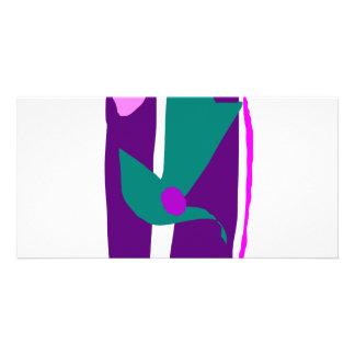 Purple Bamboo Decorated with Japanese Origami Custom Photo Card