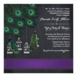 Purple Banded Peacock Feather Wedding Invitations