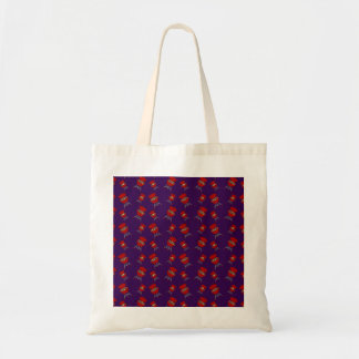 purple barbeque pattern tote bag