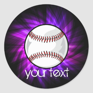 Purple Baseball; Softball Round Sticker