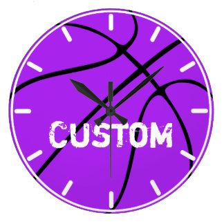 Purple Basketball Décor Custom Wall Clock
