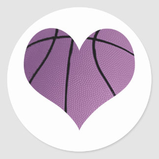 Purple Basketball In The Shape Of A Heart Round Sticker