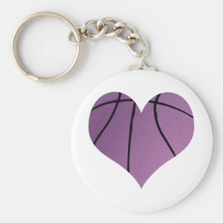 Purple basketball Love Basic Round Button Key Ring