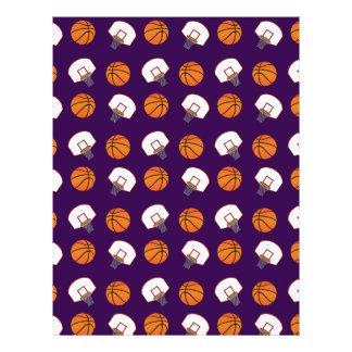 Purple basketballs and nets pattern 21.5 cm x 28 cm flyer